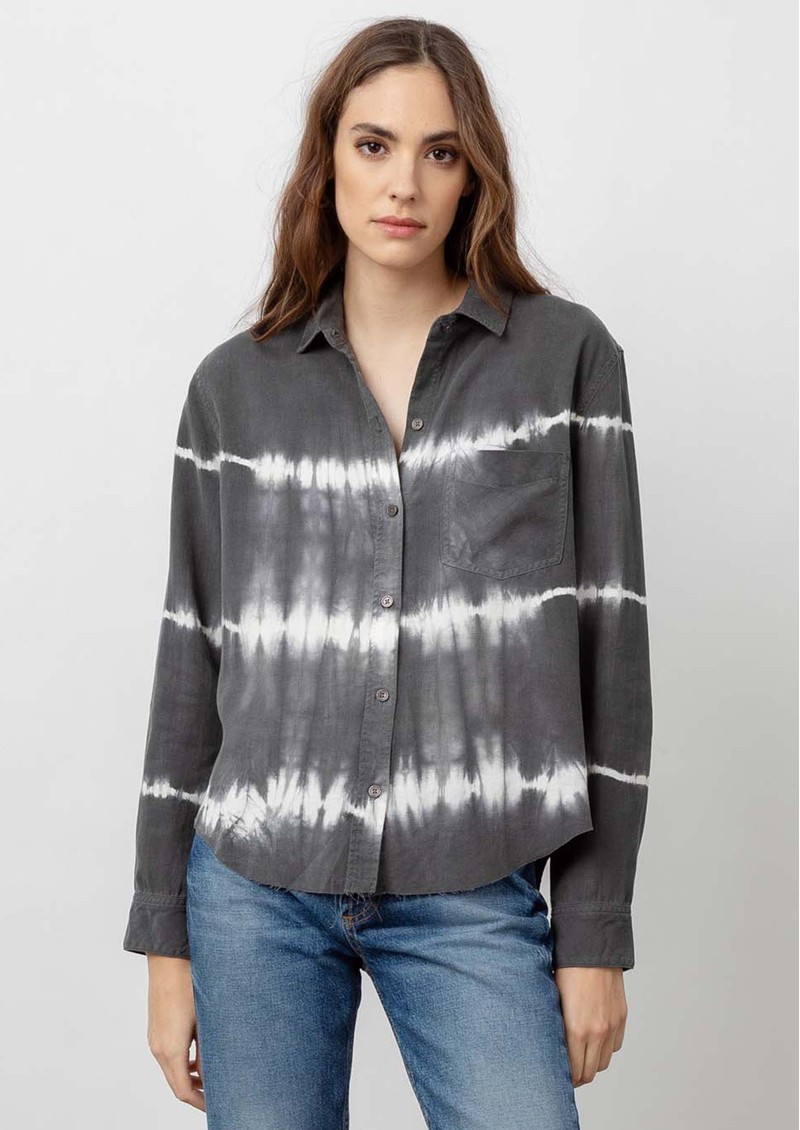 Rails Ingrid Raw Hem Linen Mix Shirt - Coal White main image