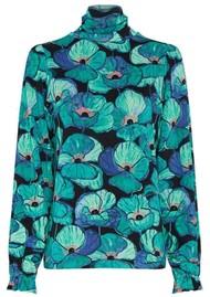 FABIENNE CHAPOT Billy Slim Turtleneck Top - Aqua Poppies