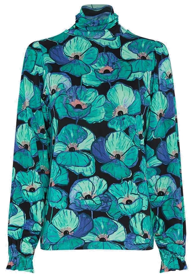 FABIENNE CHAPOT Billy Slim Turtleneck Top - Aqua Poppies main image