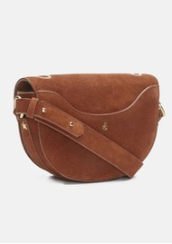 FABIENNE CHAPOT Anais Leather Embroidered Bag - Cognac & Cream White