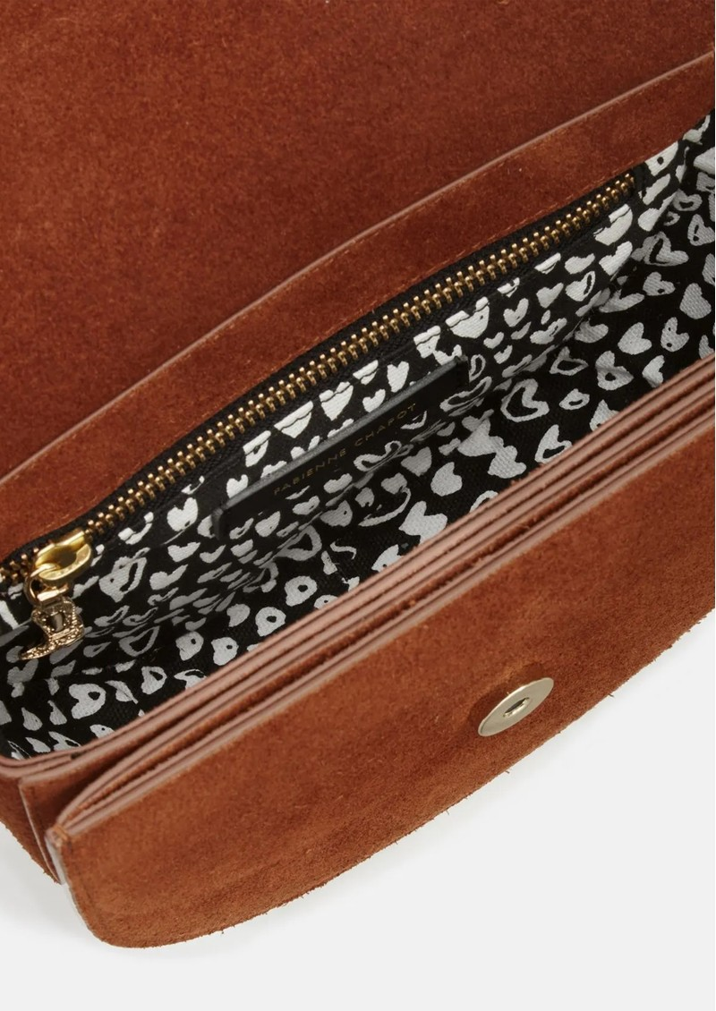 FABIENNE CHAPOT Anais Leather Embroidered Bag - Cognac & Cream White main image