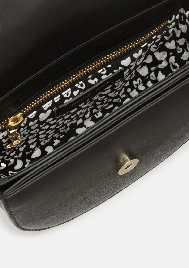 FABIENNE CHAPOT Anais Leather Embroidered Bag - Black & Cream White main image