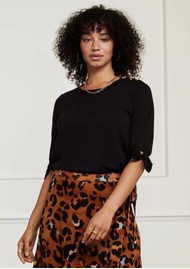 FABIENNE CHAPOT Molly Short Sleeve Pullover - Black
