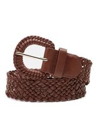 FABIENNE CHAPOT Braidy Wide Leather Belt - Cognac
