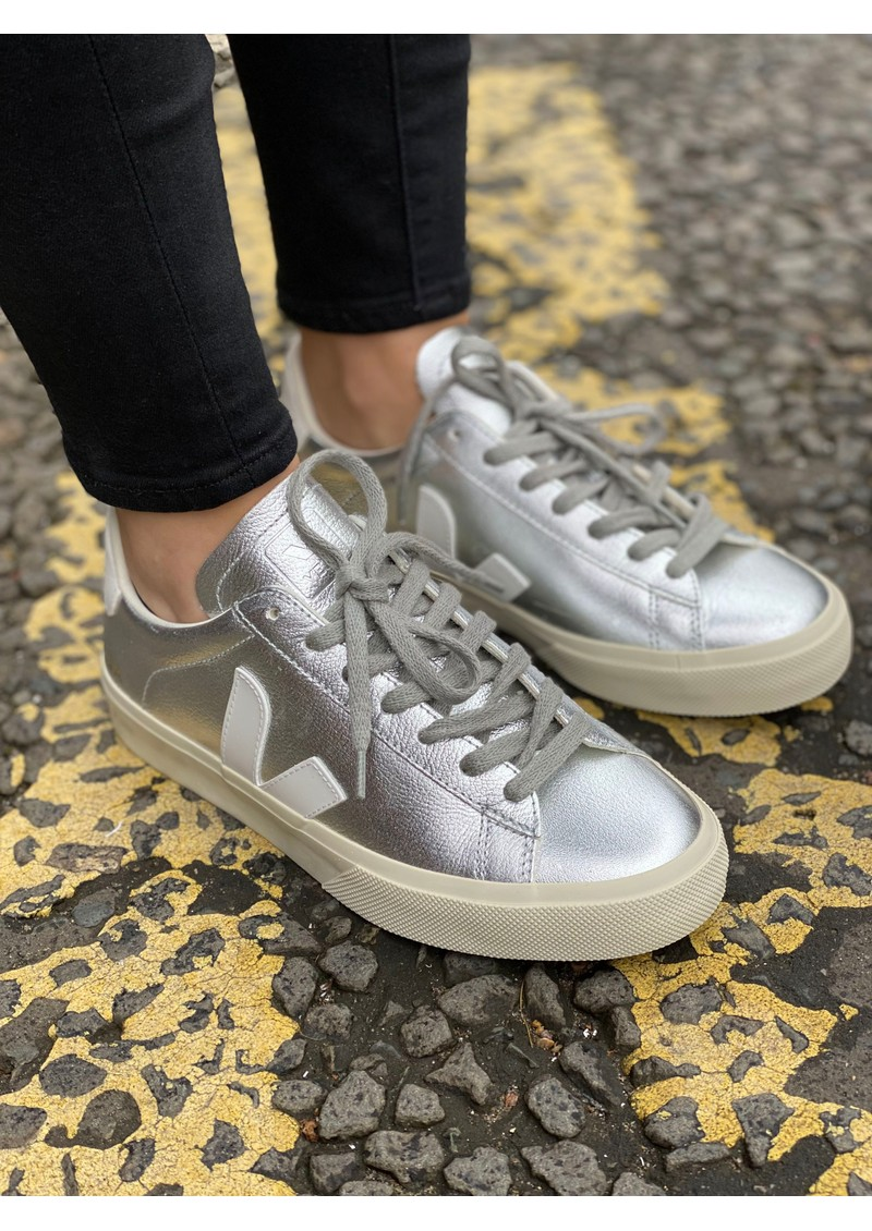 VEJA Campo Leather Trainers - Silver & White main image