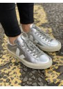 Campo Leather Trainers - Silver & White additional image