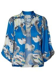 LOLLYS LAUNDRY Alba Printed Kimono Jacket - Blue