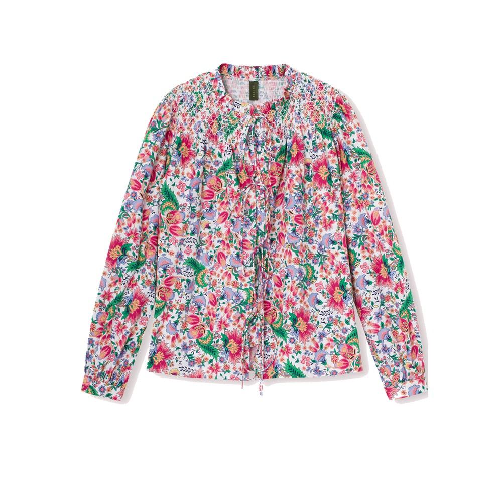 Gabe Floral Printed Cotton Shirt - Dark Coral