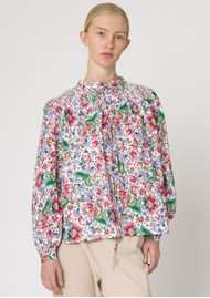 RESUME Gabe Floral Printed Cotton Shirt - Dark Coral