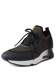 Ash Lifting Knitted Trainers - Black & Military