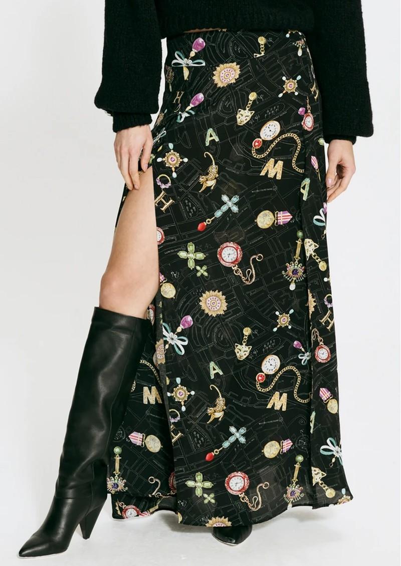 HAYLEY MENZIES Forver Portobello Silk Printed Skirt - Black main image