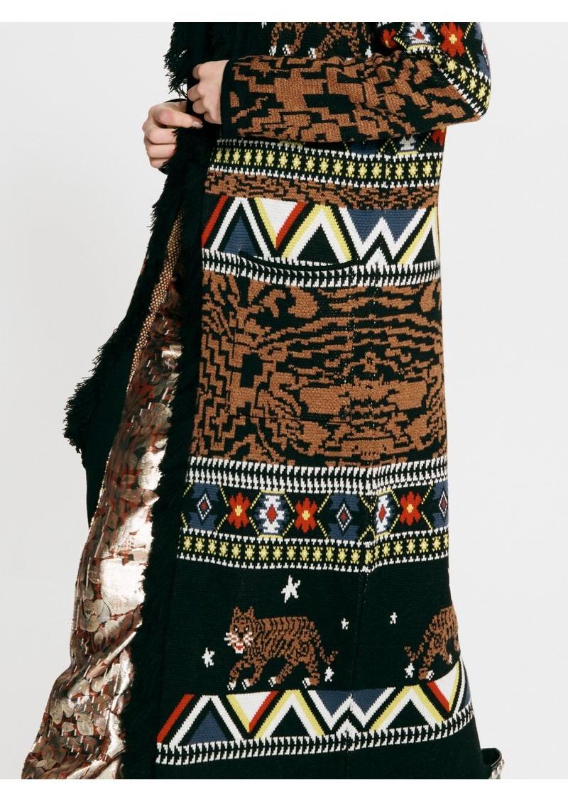 HAYLEY MENZIES Portobello Tiger Long Merino Wool Cardigan - Black main image