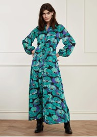 FABIENNE CHAPOT Frida Long Printed Maxi Dress - Aqua Poppies
