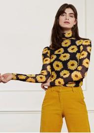 FABIENNE CHAPOT Jane Puffed Sleeve Mesh Top - Sunset Flowers Small