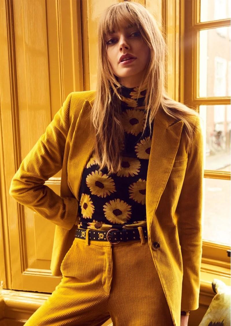 FABIENNE CHAPOT Jane Puffed Sleeve Mesh Top - Sunset Flowers Small main image