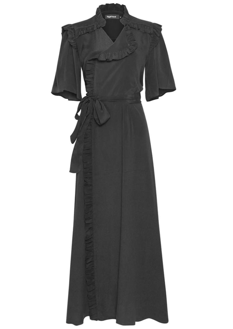 MAGALI PASCAL Clara Wrap Silk Mix Dress - Off Black main image