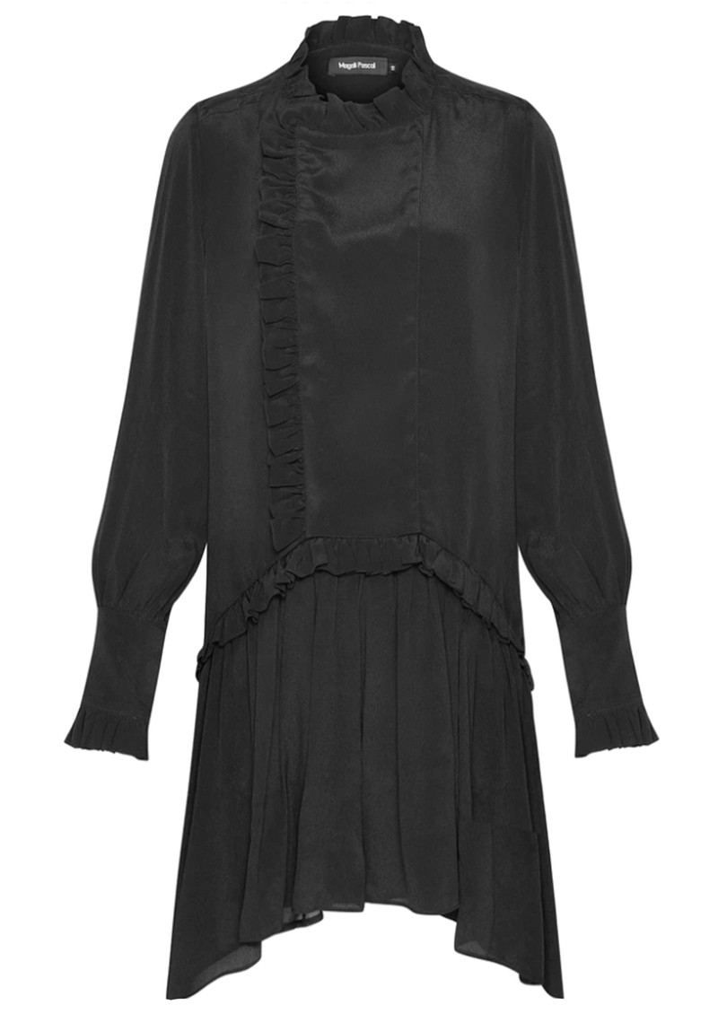 MAGALI PASCAL Bianca Shirt Silk Mix Dress - Off Black main image