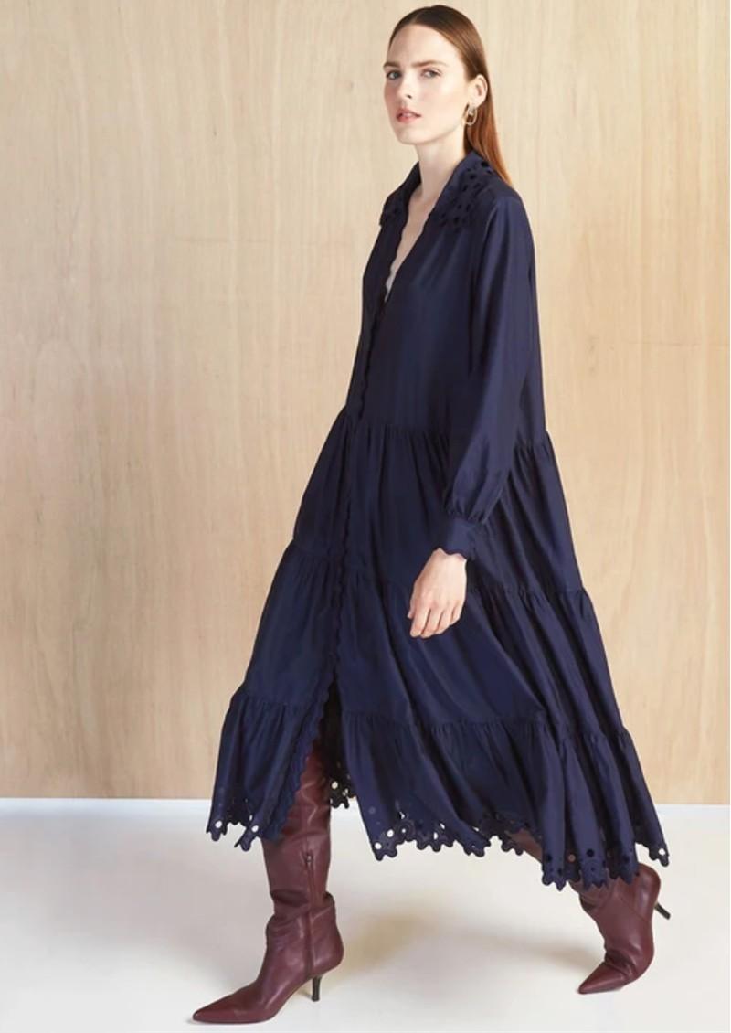 MAGALI PASCAL Amandine Cotton Silk Mix Dress - Navy main image