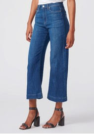 Paige Denim Anessa Cropped Wide Leg Jeans - Beachbum