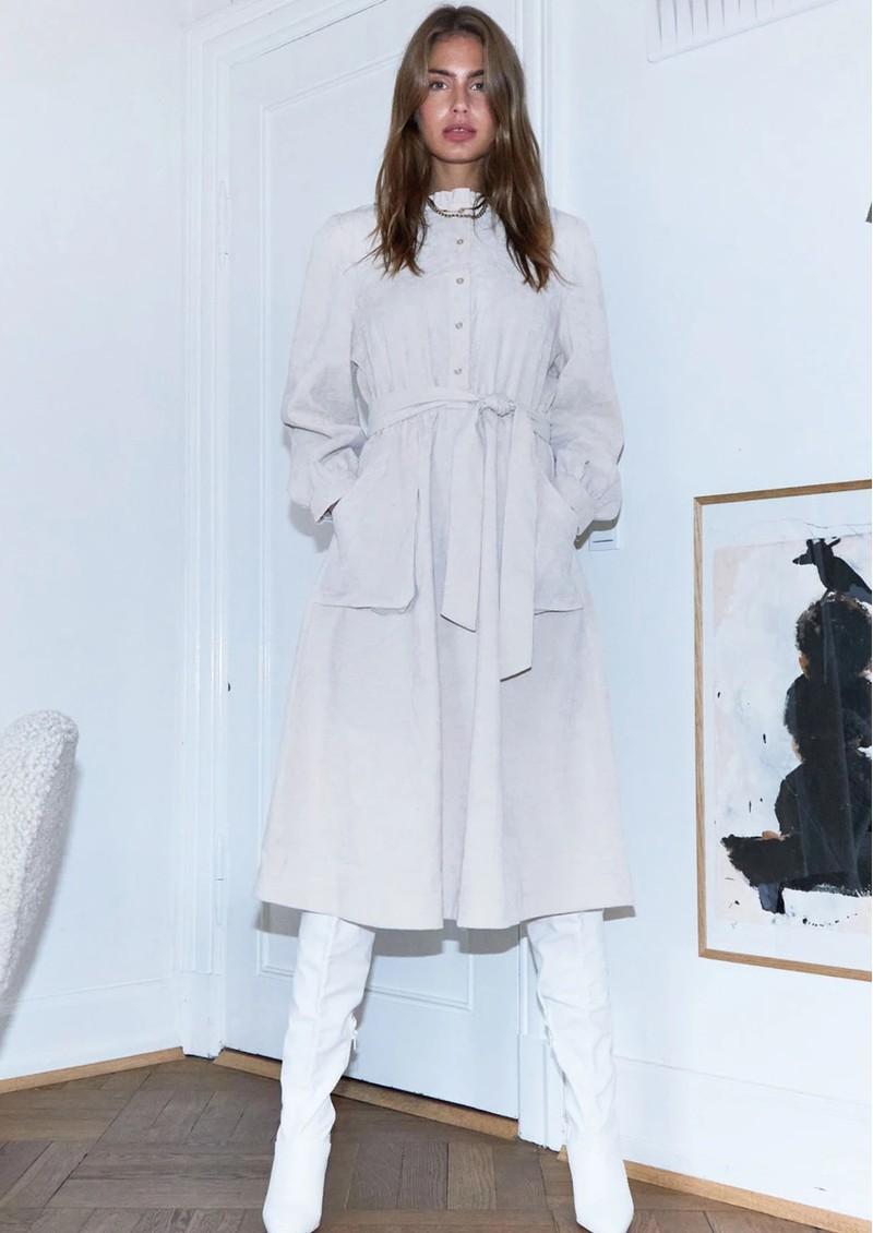 LOLLYS LAUNDRY Karlo Corduroy Midi Dress - Creme main image