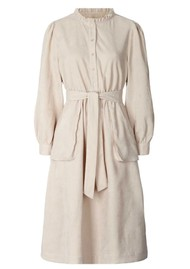 LOLLYS LAUNDRY Karlo Corduroy Midi Dress - Creme