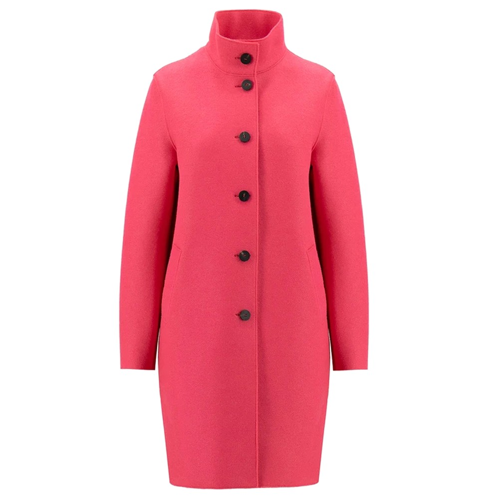 Eggshaped Pressed Wool Coat - Hot Pink