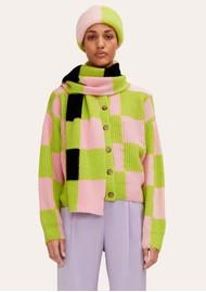 STINE GOYA Harry Wool Mix Cardigan - Lime Check