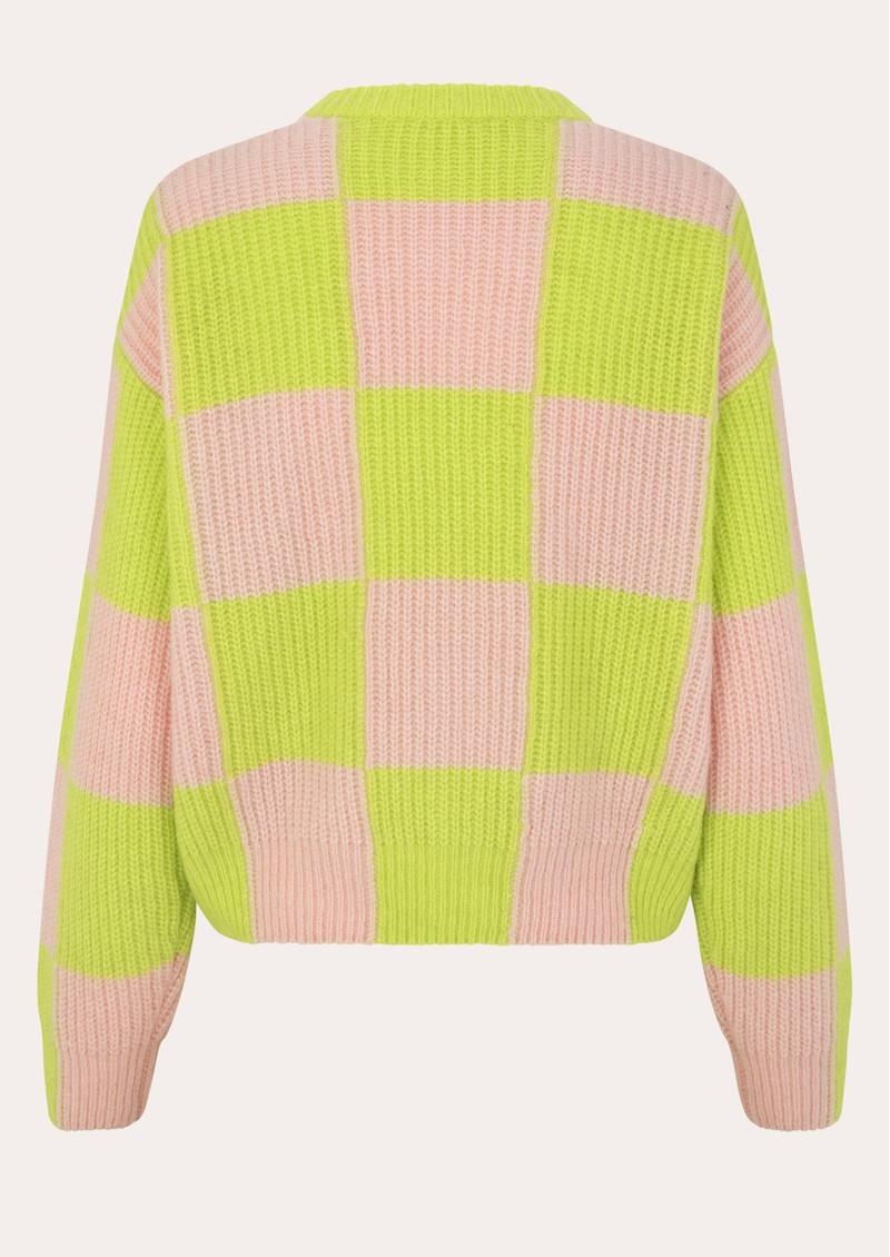STINE GOYA Harry Wool Mix Cardigan - Lime Check main image