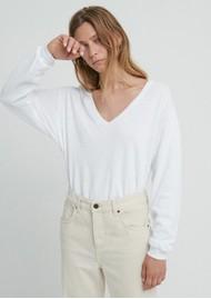 American Vintage Sonoma V Neck Loose Long Sleeve Cotton Top - White