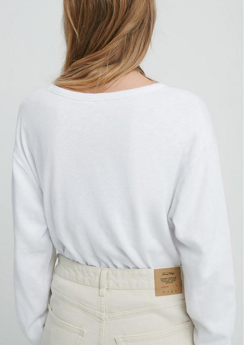 American Vintage Sonoma V Neck Loose Long Sleeve Cotton Top - White main image