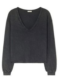 American Vintage Sonoma V Neck Loose Long Sleeve Cotton Top - Vintage Black