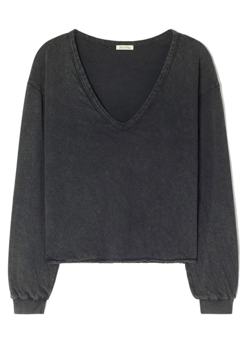 American Vintage Sonoma V Neck Loose Long Sleeve Cotton Top - Vintage Black main image