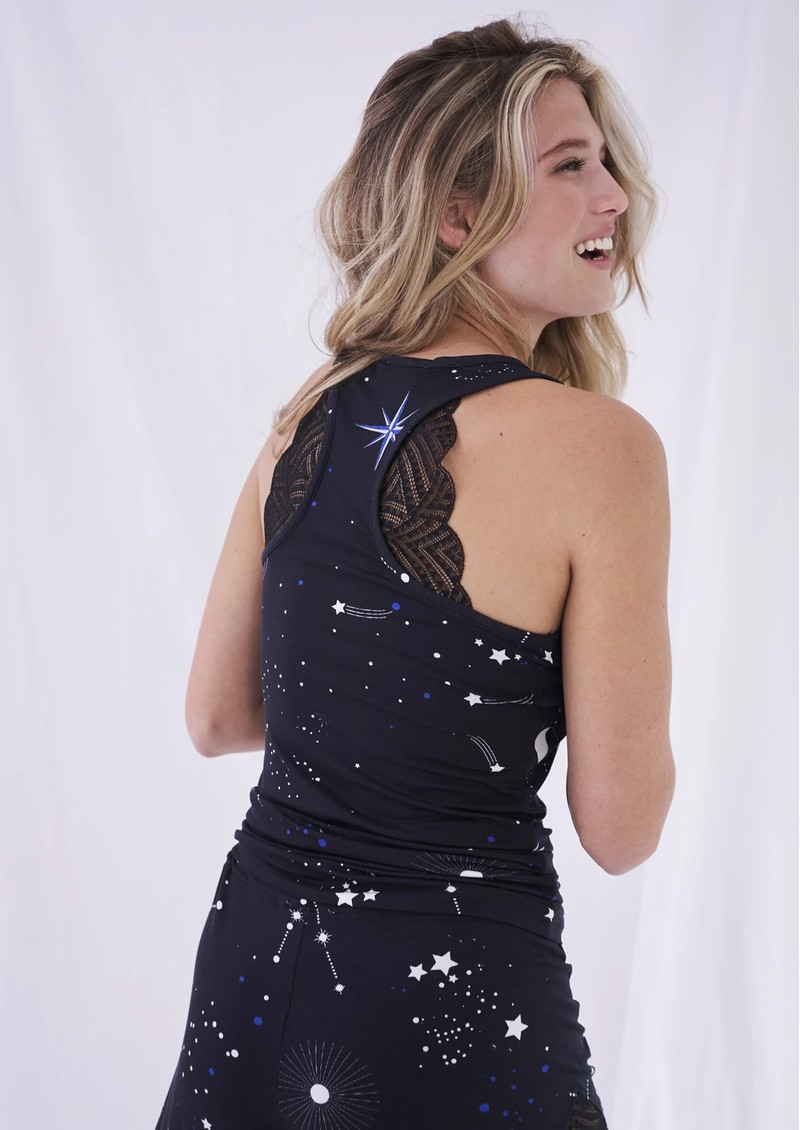 STRIPE & STARE Lace Racerback Vest - Astrology main image
