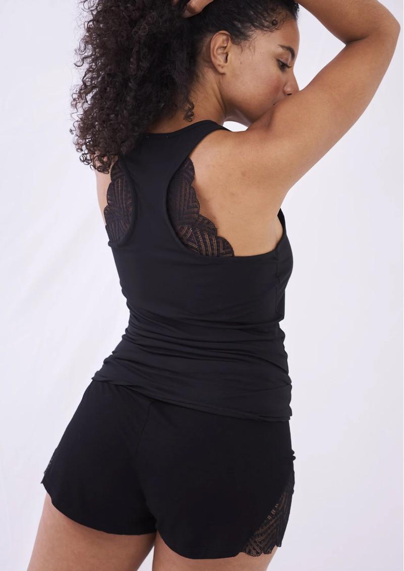 STRIPE & STARE Lace Racerback Vest - Black main image