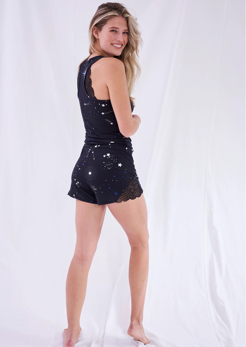 STRIPE & STARE Lace Sleep Shorts - Astrology main image