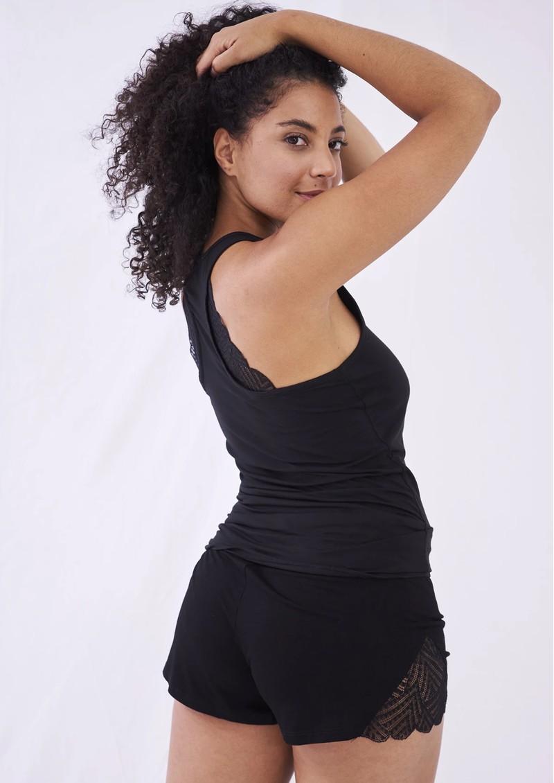 STRIPE & STARE Lace Sleep Shorts - Black  main image