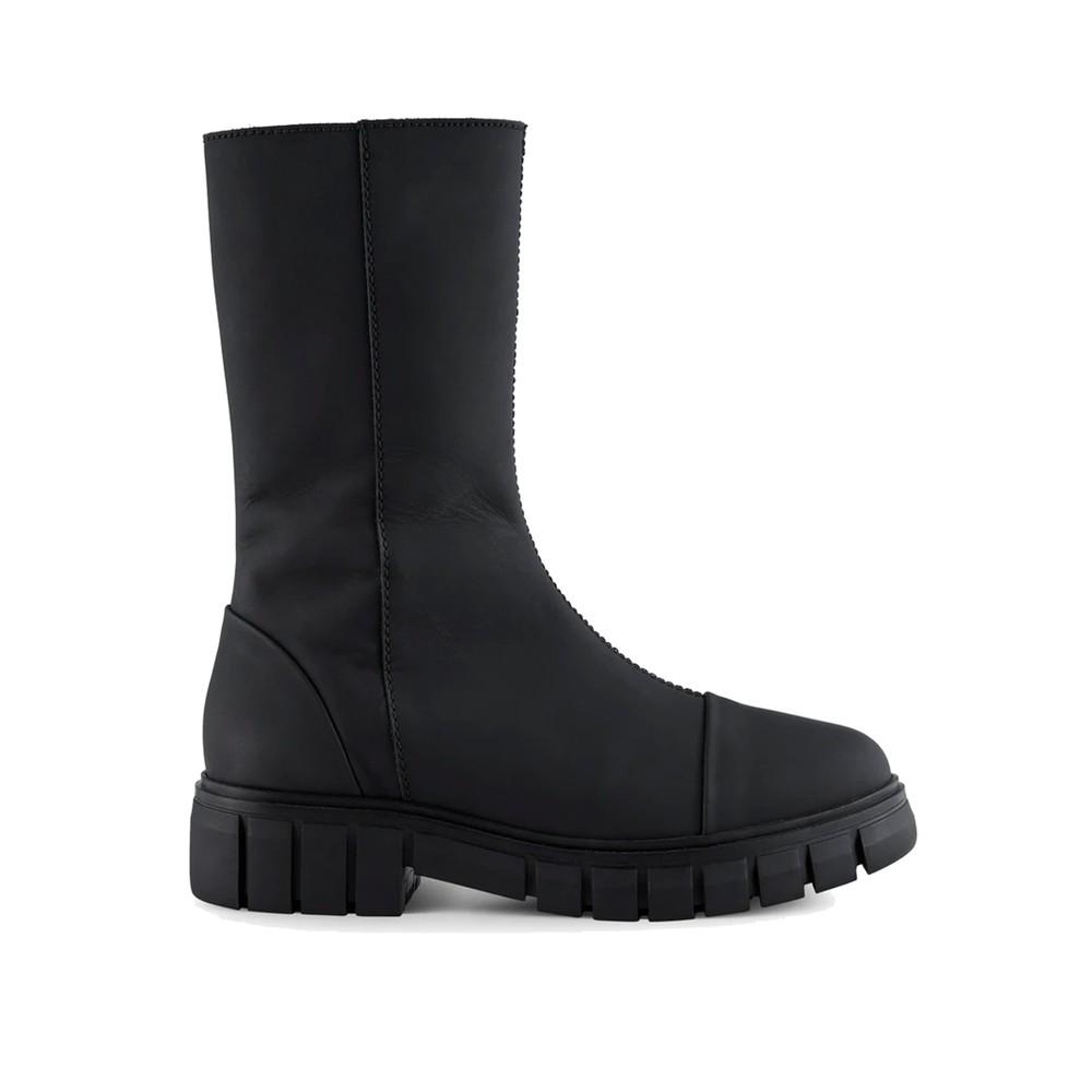 Rebel High Shaft Leather Boots - Matte Black
