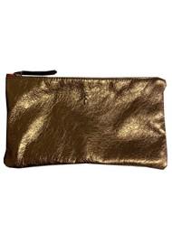 Sous Les Paves Tsutsuki Gold Bee Leather Clutch - Bronze