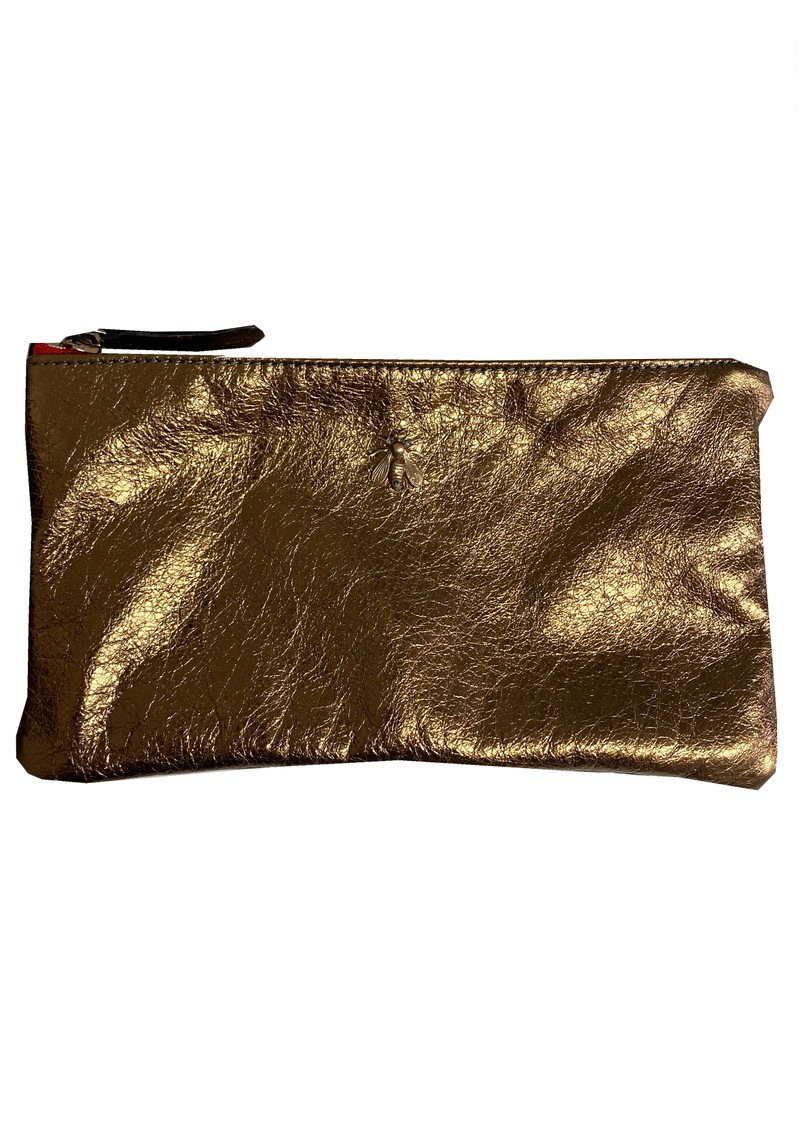 Sous Les Paves Tsutsuki Gold Bee Leather Clutch - Bronze main image