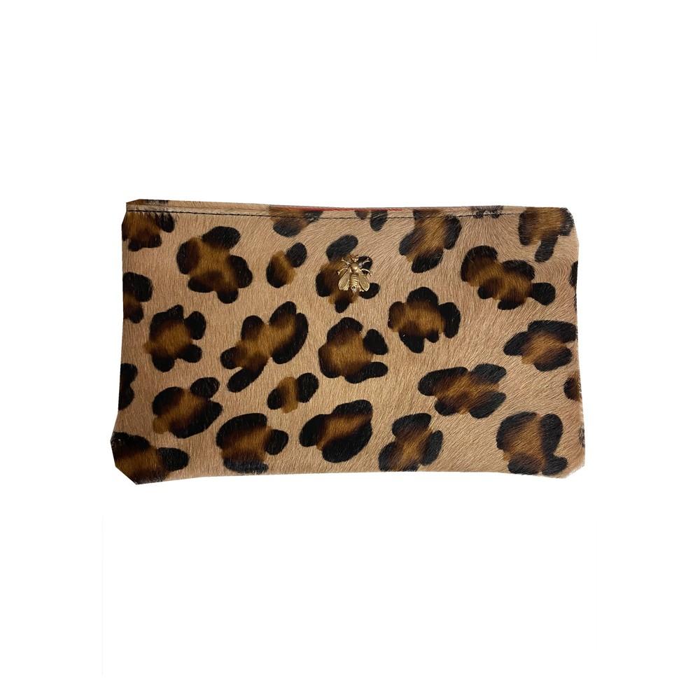 Tsutsuki Gold Bee Leather Clutch - Leopard