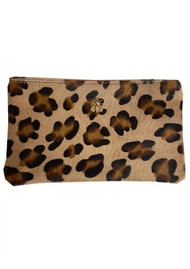 Sous Les Paves Tsutsuki Gold Bee Leather Clutch - Leopard