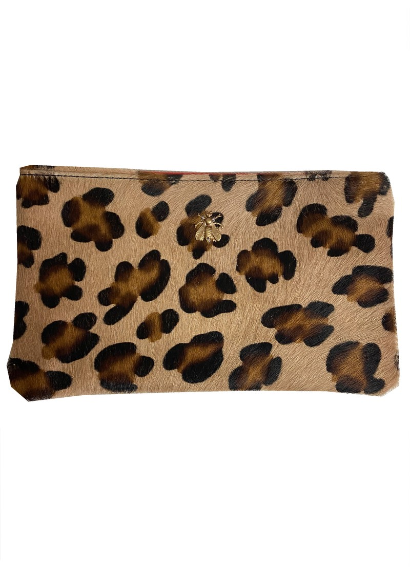 Sous Les Paves Tsutsuki Gold Bee Leather Clutch - Leopard main image