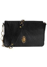 Sous Les Paves Gin Fizz Cowhide Leather Scarab Bug Shoulder Bag - Black