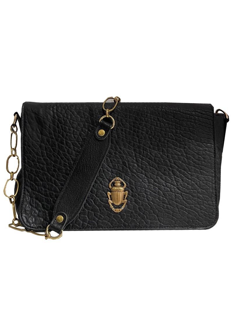Sous Les Paves Gin Fizz Cowhide Leather Scarab Bug Shoulder Bag - Black main image