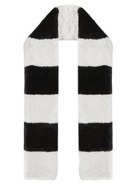 NOOKI Clara Stripe Faux Fur Scarf - Black & White