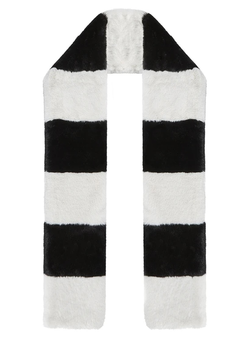 NOOKI Clara Stripe Faux Fur Scarf - Black & White main image