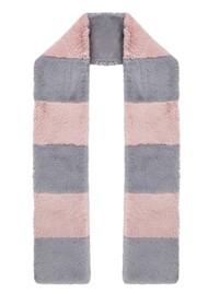 NOOKI Clara Stripe Faux Fur Scarf - Pale Pink & Grey