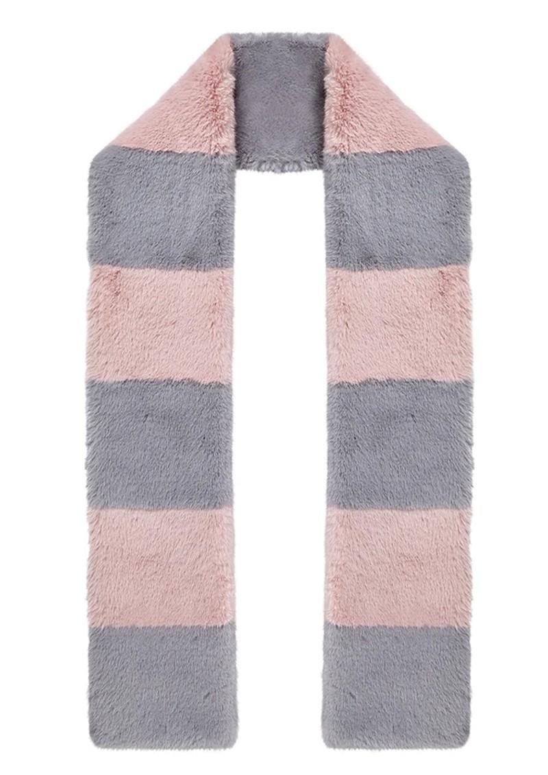 NOOKI Clara Stripe Faux Fur Scarf - Pale Pink & Grey main image