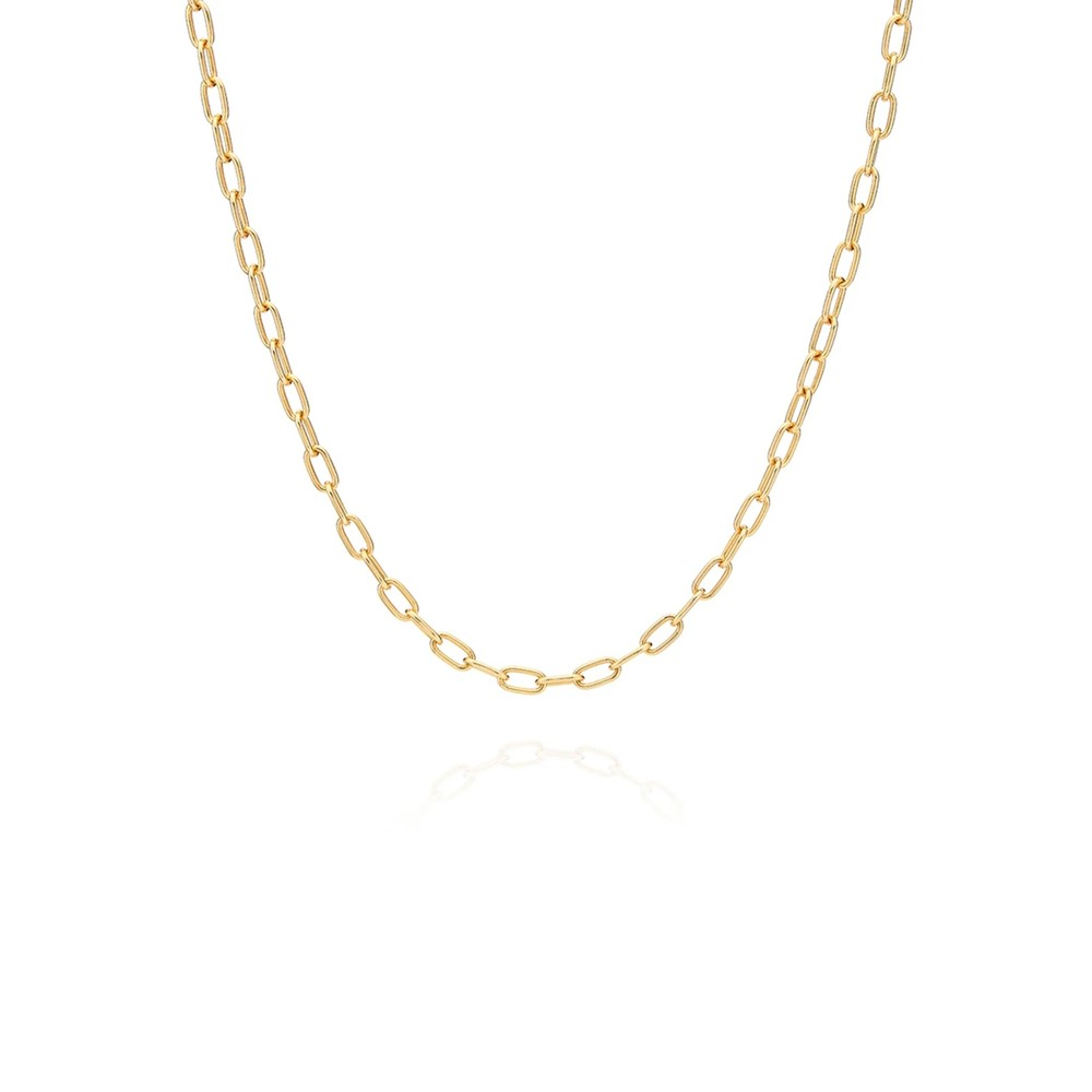 Elongated Oval Chain Necklace - Gold
