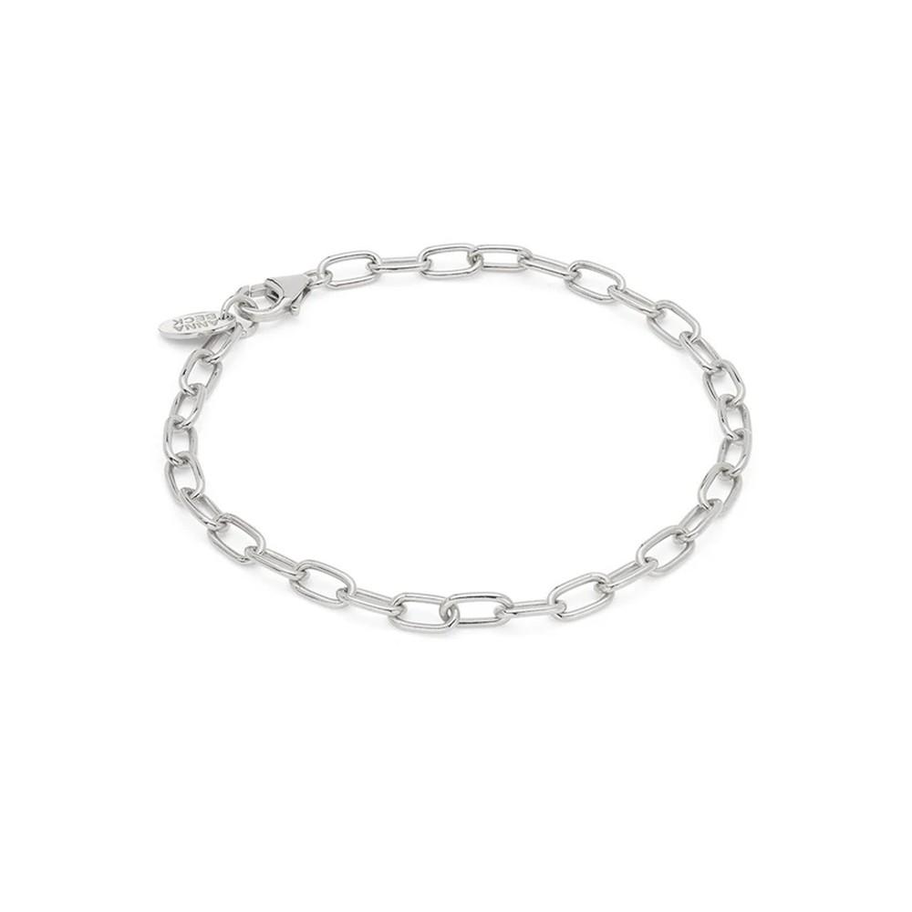 Elongated Oval Chain Bracelet - Silver